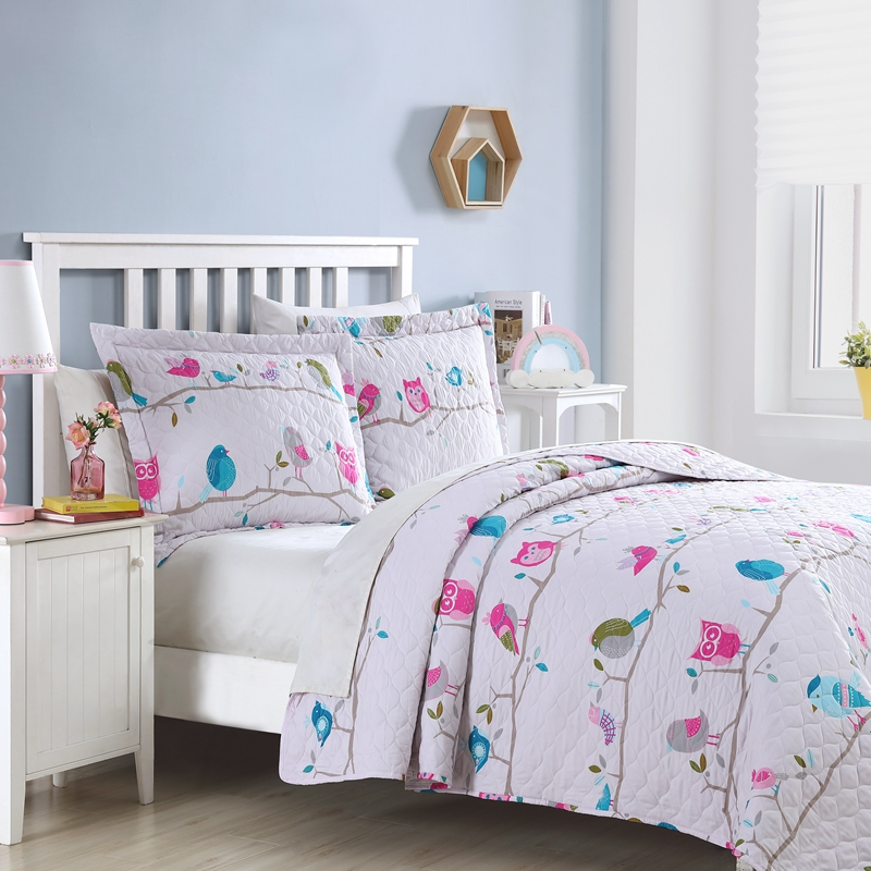 owl quilt girl bedspread kids bedding set in China