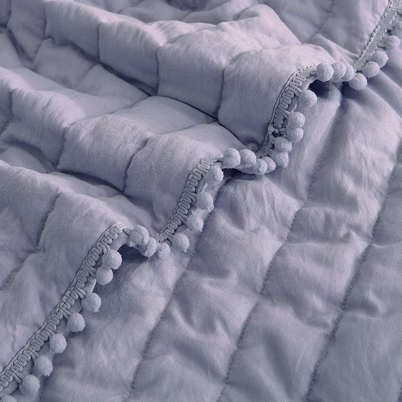 quilted bedspread pompom bedspread