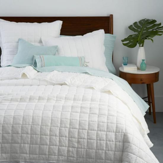 check pattern quilted coverlet set