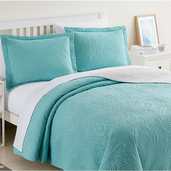 full queed blue pinsonic quilt bedspread