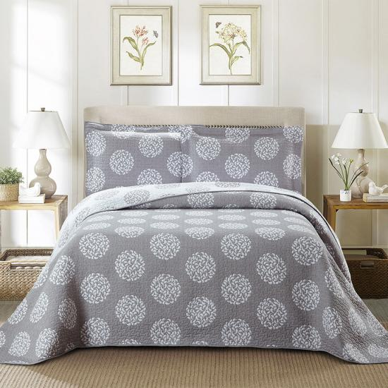 Circle pattern yarn dye weaved Jacquard bedpsread cover let