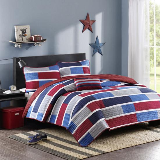 Quilted coverlets and shams for boy